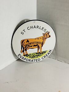 St Charles Evaporated Cream Porcelain Like Metal Magnet Farm Agriculture