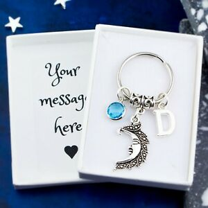 Moon Keyring, Personalised Gift, Luna Keychain, Pagan Gifts, Wiccan Bag Charms
