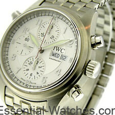 IWC Spitfire Pilot Doppelchronograph 3713-11 Stainless Steel Watch Complete B/P