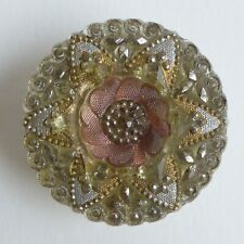 Bouton ancien - Verre - Lacy Glass - 27 mm - XIXe/XXe - Lacy Glass Style Button