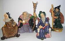 4 Zauberer Magier, Deko Figuren aus Kunststein, 12cm bis 15cm