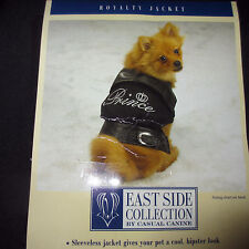CASUAL CANINE Royalty Dog Coat Jacket Prince XL Extra Large Black Denim Twill