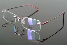 New Memory Titanium Women Flexible Rimless Pink Eyeglass Frame Glasses Rx able