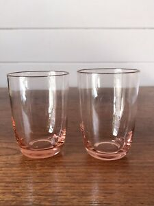 Two Vintage Pink Glasses Small Tumblers 140ml