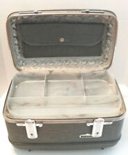 Vintage American Tourister Blue Tiara Train Cosmetic Case w/ Tray Mirror and Bag