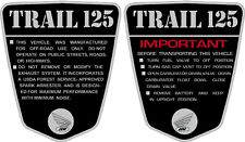 "CT70 KO CT-70H  69,70,71 frame decals, graphics,          Cutsom:  ""TRAIL 125"""