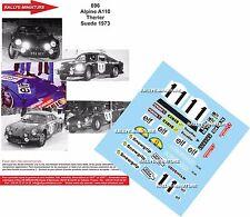 DECALS 1/18 REF 696 ALPINE RENAULT A110 THERIER RALLYE DE SUEDE 1973 RALLY WRC