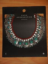 Collier zara perles turquoise et strass neuf