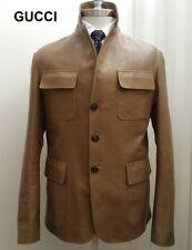 GUCCI leather military safari jacket blazer sport coat tan beige khaki L 42 52