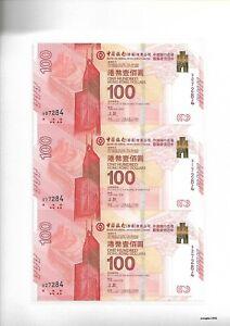 Hong Kong 2017 Bank of China Centenary Commemorative Banknote $100 Dollar Uncut