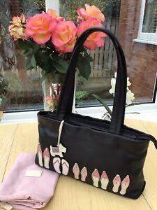 Radley 'Flip Flop' Appliqué Detail Soft Black Leather Medium Shoulder Bag & Dog