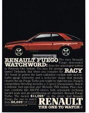 1984 Renault Fuego Red, Blue Turbo Vtg Print Ad