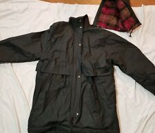 TOTES Men's Plaid Flannel Lined PVC Hooded Rain Black Jacket Size Medium Zip EUC