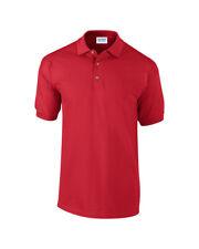 Gildan Men's Pique Polo Shirt Golf Tennis Casual Premium Cotton Collar Workwear Red L
