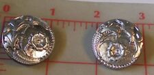 "2 Vintage Extra Large Silver Glass Shank Czech Buttons Flower Design 26mm 1"" #78"