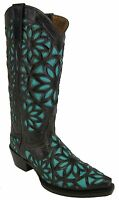 Women's New Beautiful Studded Leather Cowgirl Western Boots Snip Brown Turquoise
