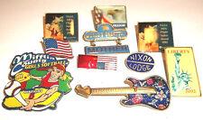 LOT Of 10 ASSORTED BADGE LAPEL PINS-,MIXED MATERIALS-flag,political,NASA etc.