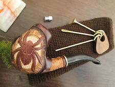 """Hand Carved Collectible Tobacco Smoking Pipe Hand Made Gift Set """"Spider"""" Sale!"""