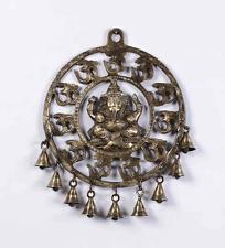 Om Ganesha Wall Hanging Brass Statue Ganesh Figurine Om Bell Puja Decor Bells
