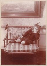 vintage photo dreaming child boy photographical process on Lumière paper ca 1895