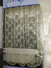 New Fabric shower Lace antique style w/ valance Curtain beige.