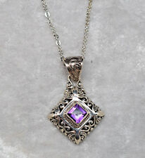 Square Amethyst .925 Sterling Silver Filigree Necklace by Sarda 20""