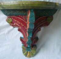 Wooden hand carved painted phone stand wall hanging indian vintage folk wood art