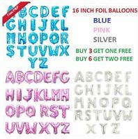 16 Inch Foil Letter Balloons Silver Pink Blue Alphabet AZ Birthday Party Wedding