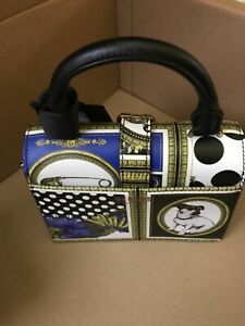 New VERSUS BY VERSACE Black Leather Mini Iconic Buckle  Bag Boarder Print