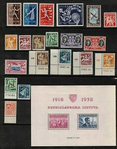 Lithuania 1938- collection of 21.MNH. Very fine.