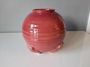 Avon Ware Pottery Art Deco Ribbed Deep Pink Vase - 1930's