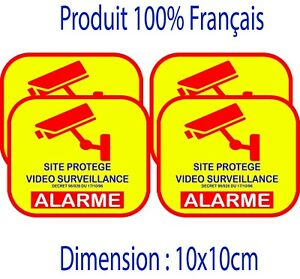 Autocollant site protégé LOT DE 4 stickers - video surveillance