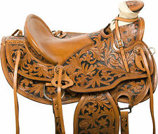 """NEW 16"""" GORGEOUS CUSTOM TOOLED RANCH WORK ROPING WESTERN LEATHER HORSE SADDLE"""