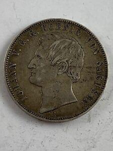 1867 B German States Saxony Thaler Silver Coin KM #1214  ***NO RESERVE***
