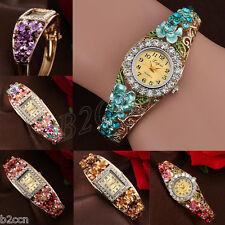 Fashion Women Crystal Floral Bracelet Watch Digital Casual Bangle Wrist Watches