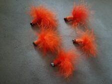 5 Jigs #6 Hooks Orange Feathers Fishing Lures