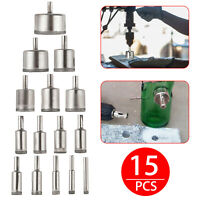 15Pcs Diamond Hole Saw Drill Bit Set Cutting Tool For Tile Marble Glass 6mm-50mm