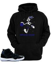 """Hoodie to match Air Jordan Retro11 Space Jam sneakers""""Bugs Bunny Xi""""Black Hoodie"""