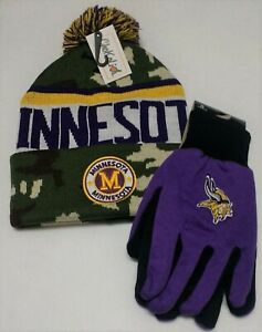 Minnesota Vikings   Licensed Black Grip Glove & City Name  Camo  Pom Beanie Hat
