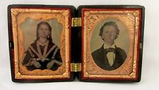 C 1860 Gutta Percha Union Case W/Place For 3 Photos - Includes 2 Tintypes Tinted
