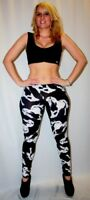 LADIES WOMEN'S BLACK & WHITE HORSES ANIMAL PRINT LEGGINGS GOTH PUNK EMO GOTHIC