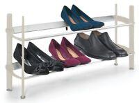 Stackable 2 Tier Shoe Rack Storage Footwear Rack Organiser Shelf Biscuit/Silver