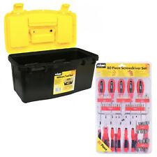 480mm Tool Box + 80pc Screwdriver Set Bits Caddy Plastic Tray Torx Precision Nut