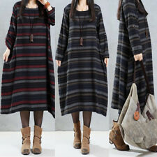 ZANZEA Autumn Women Striped Dress Plus Size Long Midi Casual Boho Vintage Kaftan