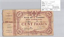 BILLET FRANCE - CAMBRAI - 100 FRANCS - 8 JANVIER 1916