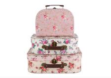 Sass & Belle Set of 3 Vintage Rose Floral Suitcases Kids Storage Boxes Cases