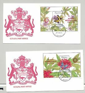 Guyana 1990 Butterflies Red o/p Rotary 2v Imperf S/S on 2 FDC