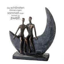 79616 Sculpture Moon Poly Bronze Figurine Base Dark Grey Height 23,5cm