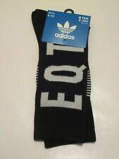 adidas EQT Cushioned Crew Socks BLACK / WHITE OS (6-12) NEW! CI4278 Trefoil