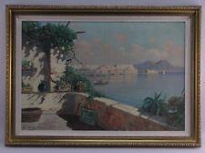 ANTIQUE Emilio Pasini (1899-1924) Italian Capri Oil Painting SIGNED Framed